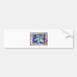 Hawaii Blue Floral Bumper Sticker