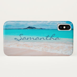 Hawaii blue ocean & sandy beach photo custom name iPhone x case
