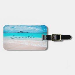 Hawaii blue ocean & sandy beach photo custom name luggage tag
