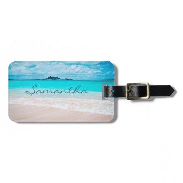 Beach Themed Hawaii blue ocean & sandy beach photo custom name luggage tag