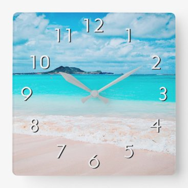 Hawaii blue ocean sandy beach photo wall clock