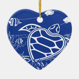 Hawaii Blue Turtle Double-Sided Heart Ceramic Christmas Ornament