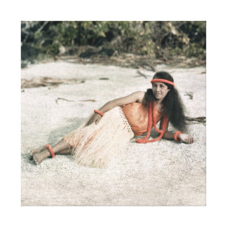 Hawaii CANVAS: Vintage 1910 Hula Girl Photo Canvas Print