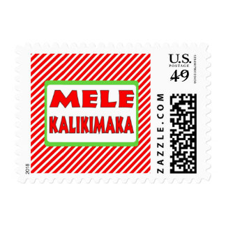 Hawaii Christmas red white stripe stamps