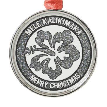 Hawaiian Themed Hawaii Christmas silver glitter hibiscus ornament