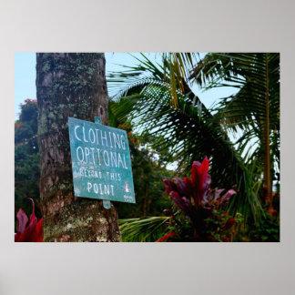 "Hawaii ""Clothing Optional"" Sign"