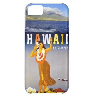 Hawaii Coastline Photo & Vintage Hula Art Cover For iPhone 5C