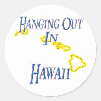 Hawaii - colgando hacia fuera etiqueta redonda