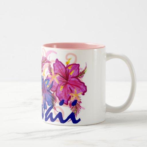 Hawaii colorful flowers artistic coffee mug