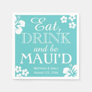 Hawaii come, bebida y sea servilletas del boda de