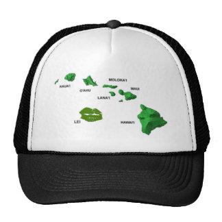HAWAII… CON EL MAPA DE LA ISLA DE LOS LEUS GORRAS DE CAMIONERO