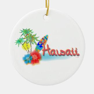 Hawaii con las palmas, las flores y la tabla adorno redondo de cerámica