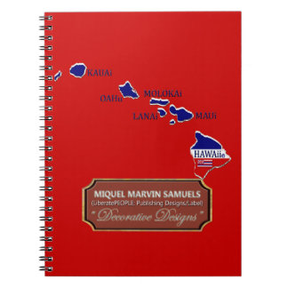 Hawaii Country Outline Flag Colors Modern Notebook