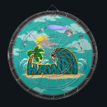 "Hawaii Dartboard With Darts<br><div class=""desc"">A fun Hawaii dartboard for the lover of Hawaii! Features a whimsical cloudy scene,  bold text,  waves,  and sand. Fully customizable to add names of loved ones,  businesses,  and more. Enjoy!</div>"