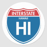 Hawaii de un estado a otro HI Etiqueta Redonda