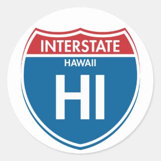Hawaii de un estado a otro HI Pegatina Redonda