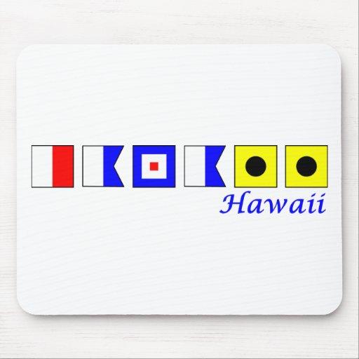 Hawaii deletreó en alfabeto náutico de la bandera tapete de ratones