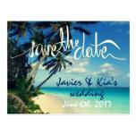 Hawaii Destination Beach Wedding Save the Date Postcard
