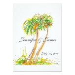 "Hawaii Destination Palm Trees Wedding Invitations 5"" X 7"" Invitation Card"