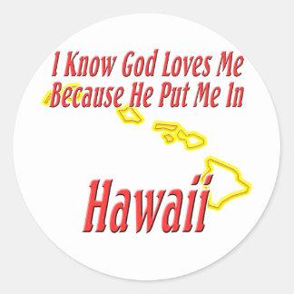 Hawaii - dios me ama etiqueta redonda