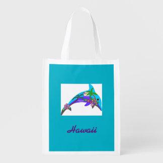 Hawaii Dolphin Ocean Sunset Reuseable Bag Reusable Grocery Bags