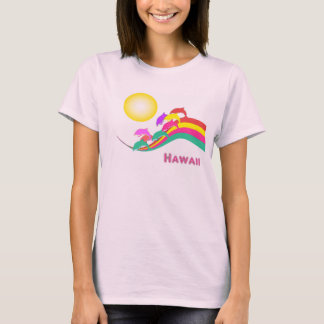 Hawaii Dolphins Sunset Multi Color Stripes T-Shirt