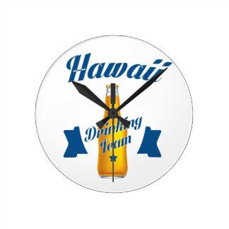 Hawaii Drinking team Round Clock