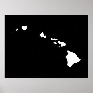 Hawaii en blanco y negro poster