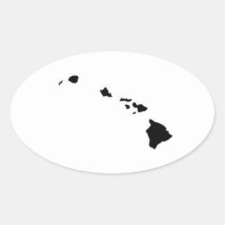 Hawaii en blanco y negro pegatina ovalada