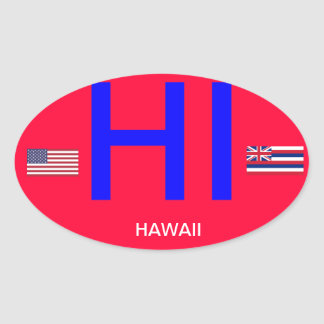 Hawaii* Euro-style Oval Bumper Sticker