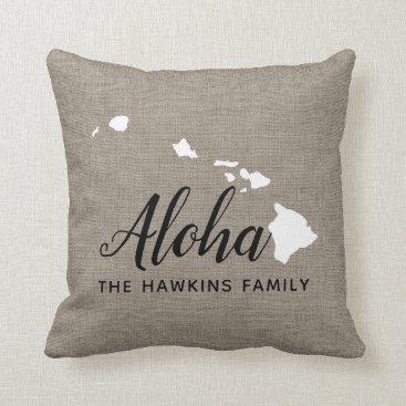 Hawaiian Themed Hawaii Family Monogram State Throw Pillow