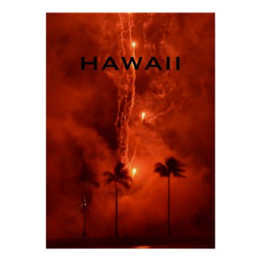 Beach Themed HAWAII FIREWORKS POSTER