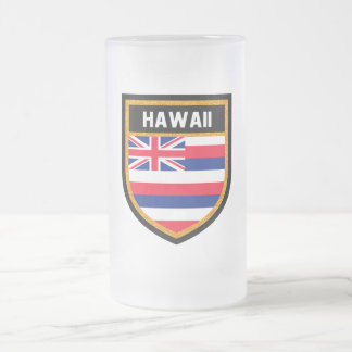 Hawaii Flag Frosted Glass Beer Mug