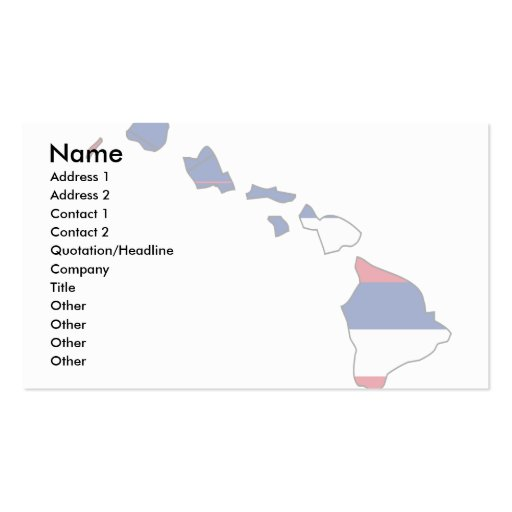 Hawaii Flag Map Double-Sided Standard Business Cards (Pack Of 100)