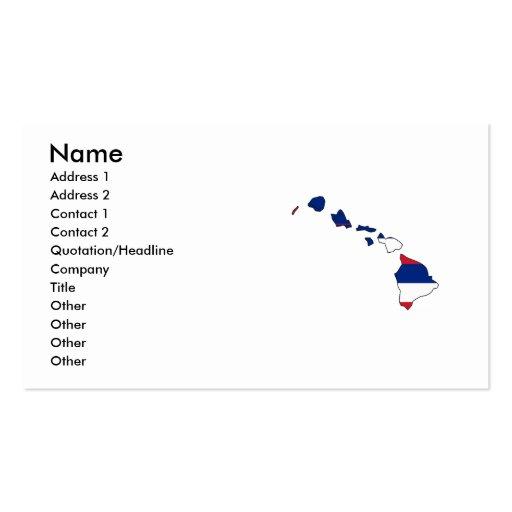 Hawaii Flag Map Business Card Template