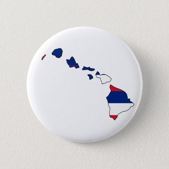 Hawaii Flag Map Pinback Button