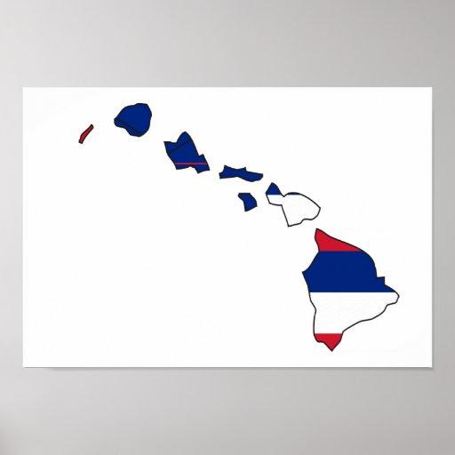 Hawaii Flag Map Poster