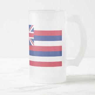 Hawaii Flag 16 Oz Frosted Glass Beer Mug