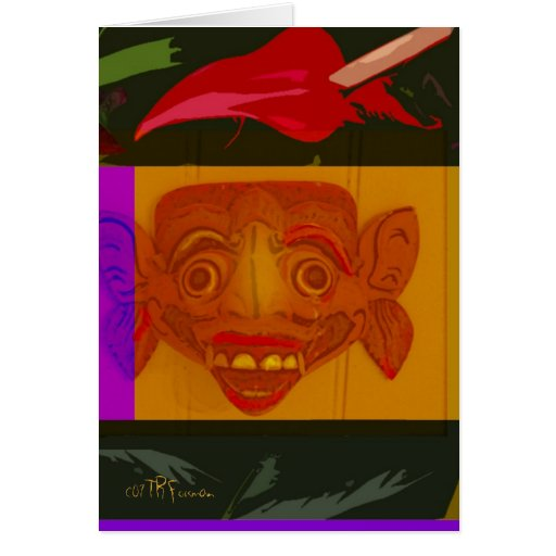 Hawaii: flor+tarjeta del arte de la máscara