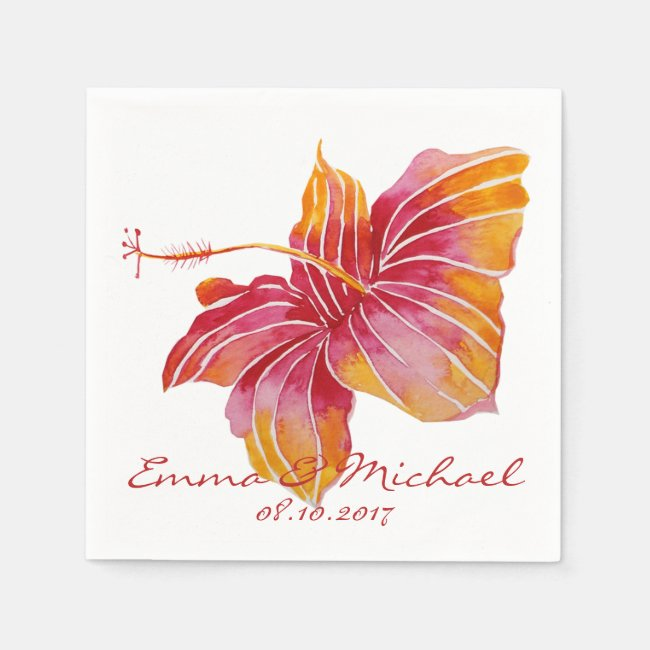 Hawaii Flower Personalized Wedding Paper Napkins