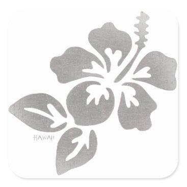 Hawaiian Themed Hawaii Flower Square Sticker