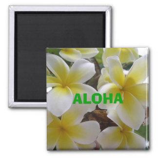 hawaii flowers1, ALOHA 2 Inch Square Magnet