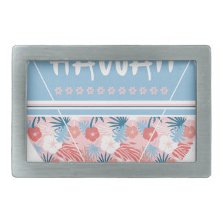 Hawaii flowers print rectangular belt buckle