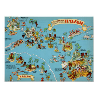 Hawaii Funny Map Poster