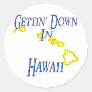 Hawaii - Getting abajo Pegatina Redonda