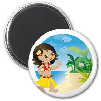 Hawaii girl 2 inch round magnet