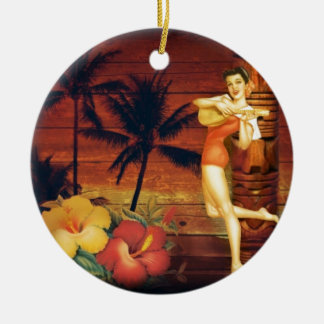 hawaii Girl Palm Tree totem pole Floral hibiscus Ceramic Ornament