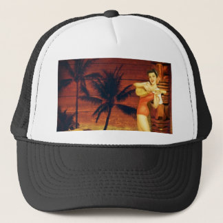 hawaii Girl Palm Tree totem pole Floral hibiscus Trucker Hat