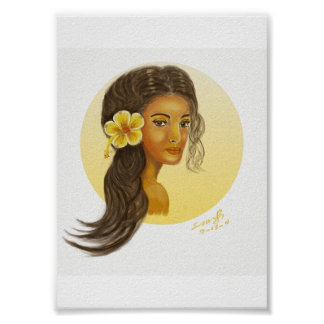 Hawaii Girl with Yellow Hibiscus Print