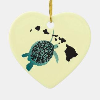 Hawaii Green Sea Turtle and Hawaii Islands Ceramic Ornament